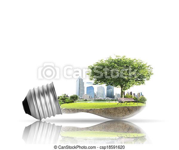 אלטרנטיבה, נורת חשמל, אור, מושג, אנרגיה - csp18591620