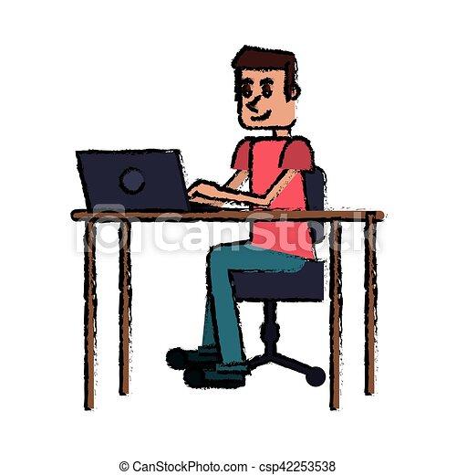 מודרני בחור, שולחן, מחשב נייד, מקום עבודה, ציור היתולי. 10, מחשב נייד YS-37