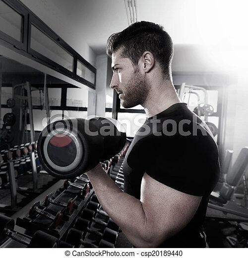 בייספס, אימון, כושר גופני, דאמבאל, אולם התעמלות, איש - csp20189440