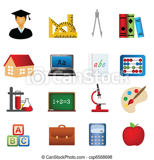 בית ספר, חינוך, קבע, איקון - csp6568698