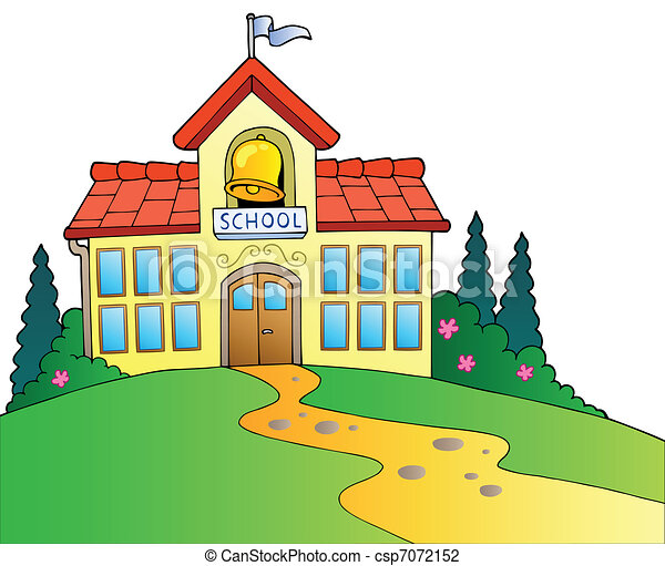 בנין, גדול, בית ספר - csp7072152