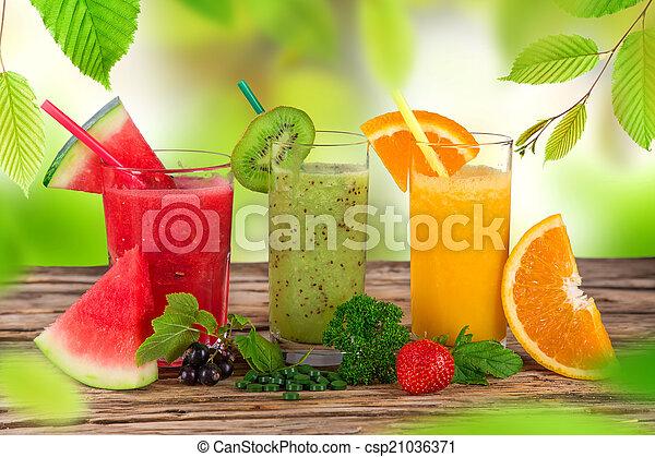 בריא, טרי, drinks., מיץ פירות - csp21036371