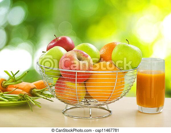 בריא, ירקות, פירות, אורגני, אוכל. - csp11467781