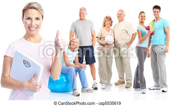 בריא, כושר גופני, אולם התעמלות, סגנון חיים - csp5535619