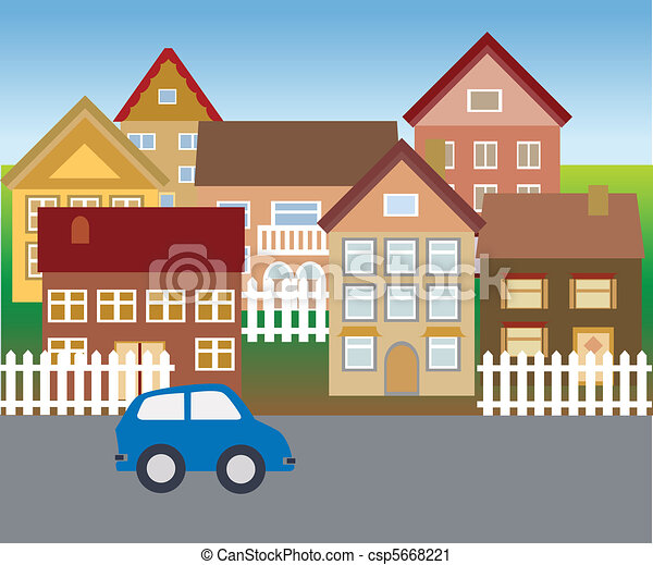בתים, פרוורי, שכונה, שלווה - csp5668221