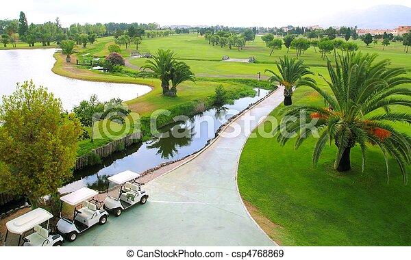 גולף, אגמים, עצים, קורס, דקל, השקפה של אנטנה - csp4768869