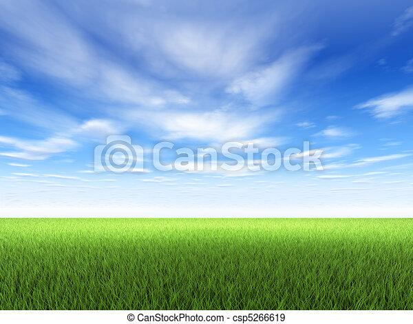 דשא, שמיים - csp5266619
