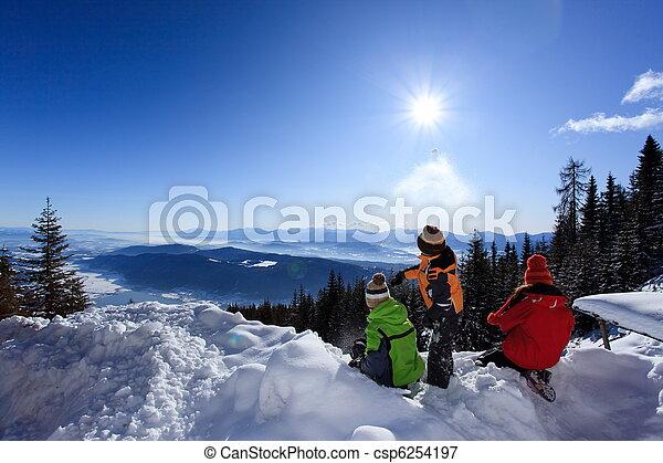 הר, ילדים, השלג - csp6254197