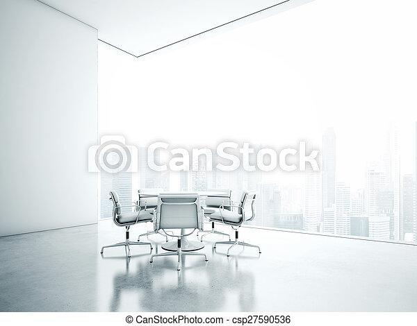 השבה, לבן, interior., משרד, 3d - csp27590536