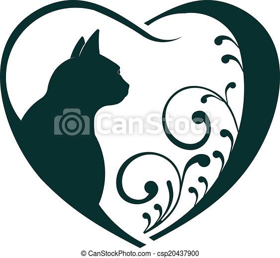 וטרינאר, לב, חתול, love. - csp20437900
