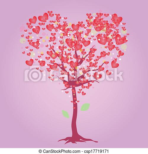 ורוד, לב, עץ - csp17719171