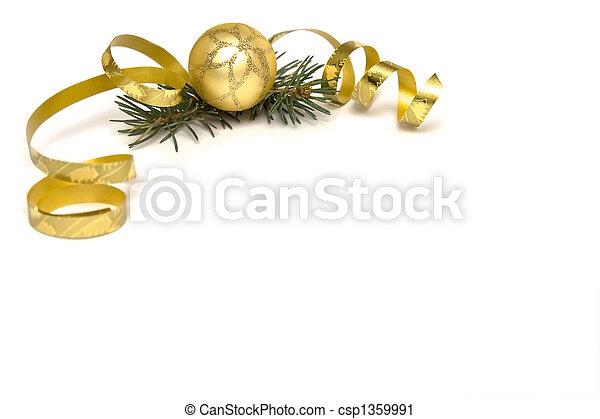 זהוב, קישוטים של חג ההמולד - csp1359991