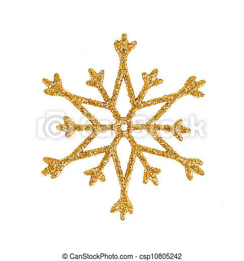 זהוב, decoration., עץ, הפרד, חג המולד, white., פתיתת שלג - csp10805242