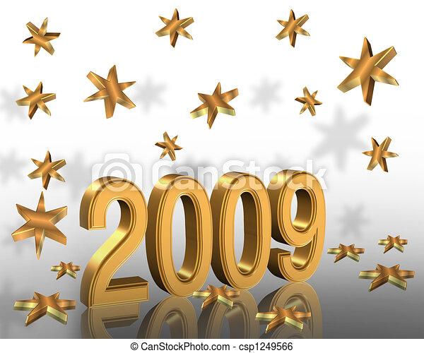 חדש, 2009, שנה, זהב, 3d - csp1249566