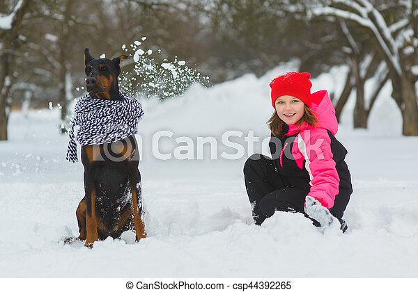 חורף, בעל, ילדות, שני, שמח, snow., בחוץ, כיף, לשחק, ילדים, יום, שמח - csp44392265