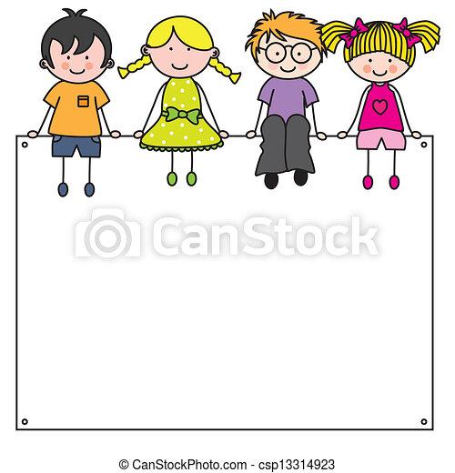 חמוד, הסגר, ילדים, ציור היתולי - csp13314923