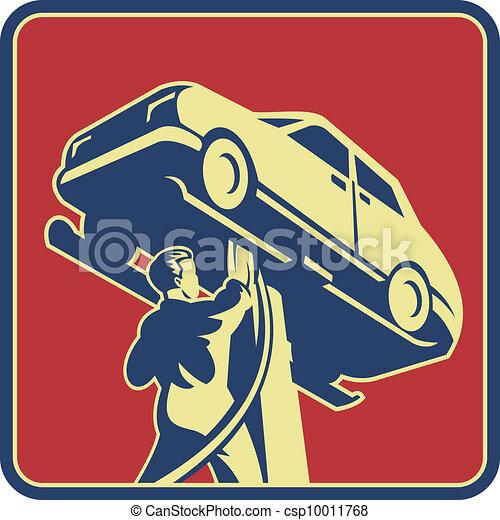 טכנאי, מכונית, ראטרו, מכונאי, תקן - csp10011768