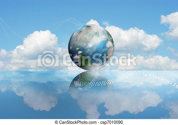 טכנולוגיה, ענן, לחשב - csp7010090
