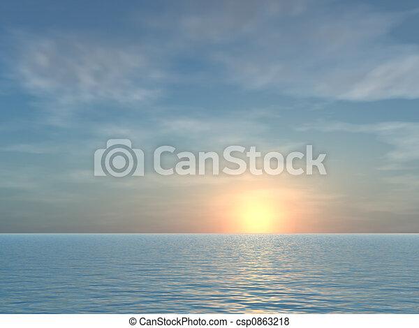 טרופי, פתוח, עלית שמש, רקע, ים - csp0863218