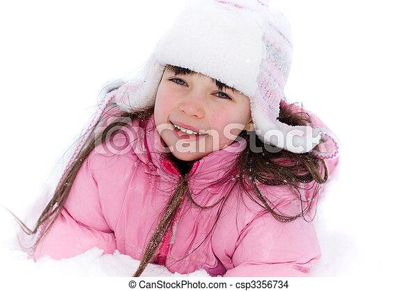 ילדה, השלג - csp3356734