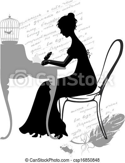 ילדה, כותב, מכתב - csp16850848