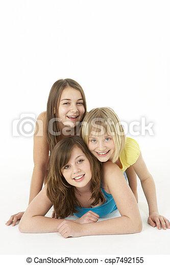 ילדות, אולפן, קבץ, שלושה, צעיר - csp7492155