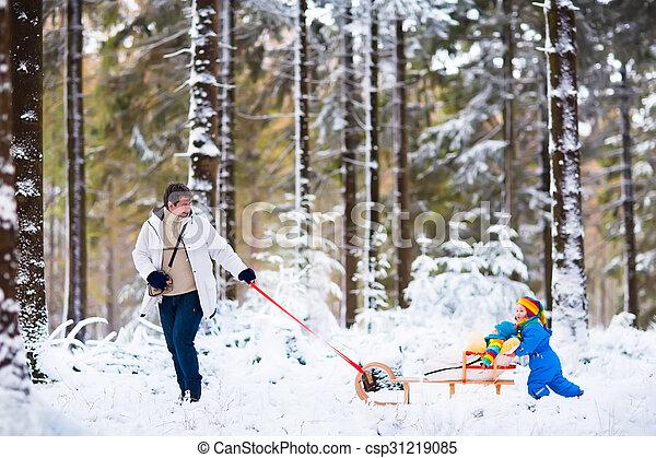 ילדים, אבא, השלג, לשחק - csp31219085