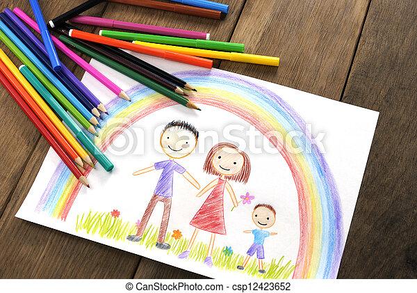 ילדים, ציור, משפחה, שמח - csp12423652