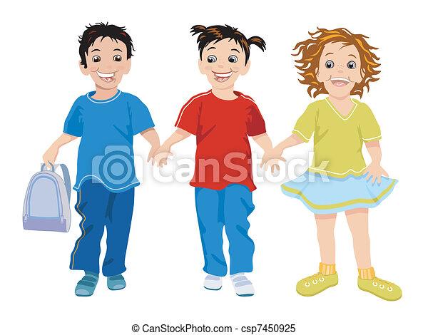 ילדים קטנים, שלושה, שמח - csp7450925