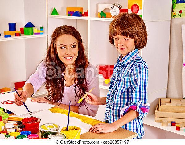 ילד, משפחה, לצבוע - csp26857197