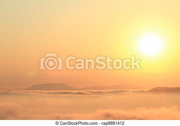 יפה, הרים, של נוף, מעל, שקיעה, הבט - csp9881412