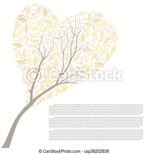 יפה, לב, עץ, סתו, עצב, עצב, שלך - csp38252838