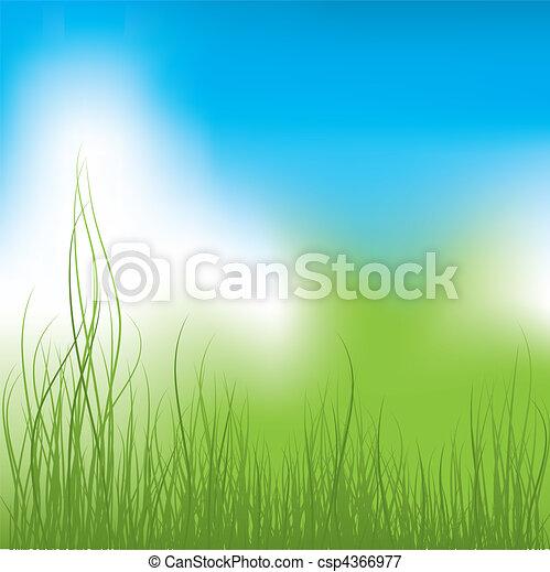 כחול, וקטור, דשא ירוק, sky. - csp4366977