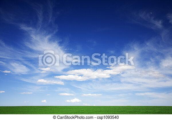 כחול, עננים, קפוץ, תחום ירוק, לבן, שמעיים - csp1093540