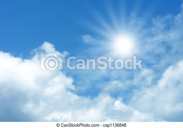 כחול, עננים, שמיים - csp1136848
