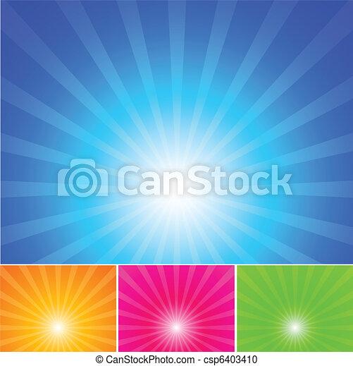 כחול, קרנות של שמש, שמיים - csp6403410