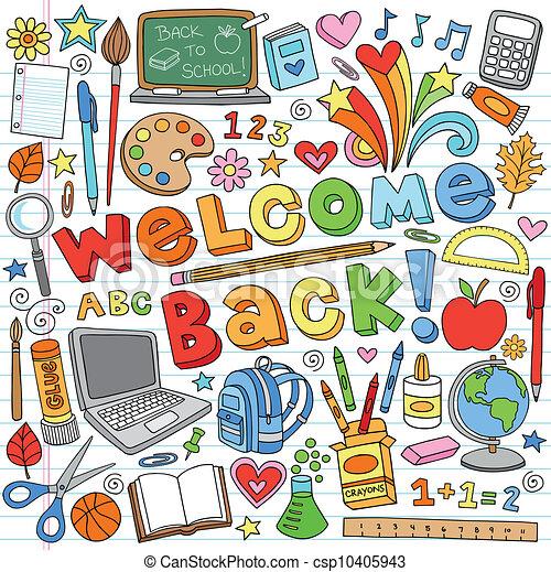 כיתה, doodles, הספקות של בית הספר - csp10405943