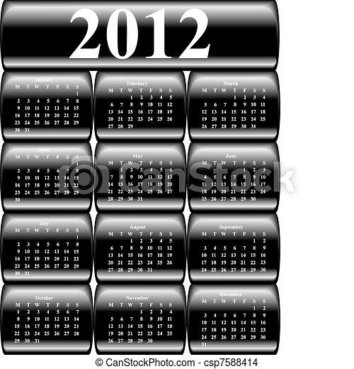 כפתורים, לוח שנה, וקטור, 2012 - csp7588414