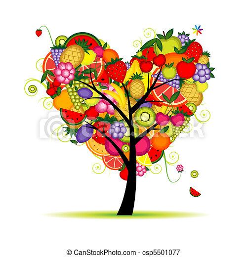 לב, אנרגיה, עץ, עצב, פרי, עצב, שלך - csp5501077