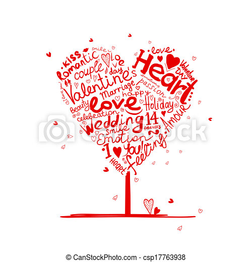 לב, עץ, ולנטיין, עצב, עצב, שלך - csp17763938