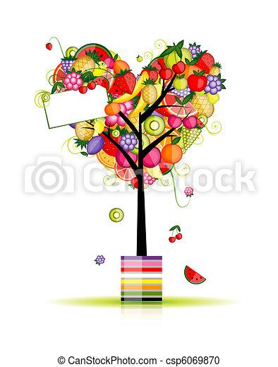 לב, עץ, עצב, פרי, עצב, שלך - csp6069870