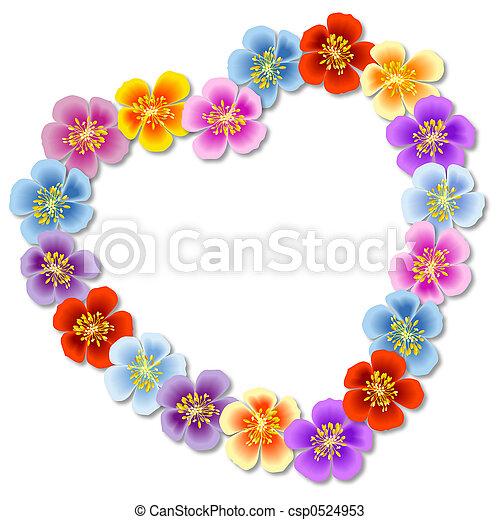לב, פרחים - csp0524953
