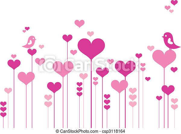 לב, פרחים, צפרים - csp3118164