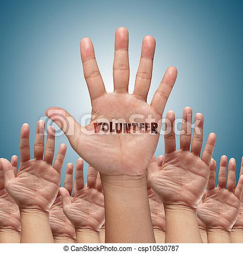 להרים, התנדב, ידיים, קבץ - csp10530787