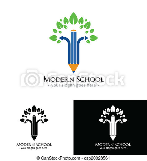 לוגו, דפוסית, מודרני, בית ספר - csp20028561