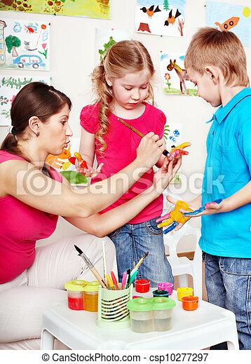 לצבוע, ילדים, מורה - csp10277297