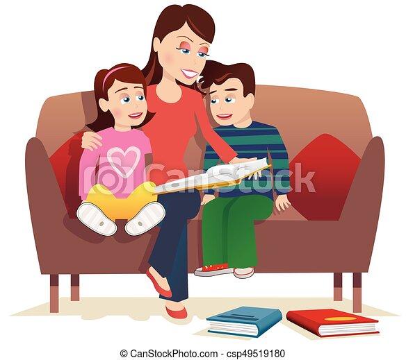 לקרוא, אמא, ילדים - csp49519180