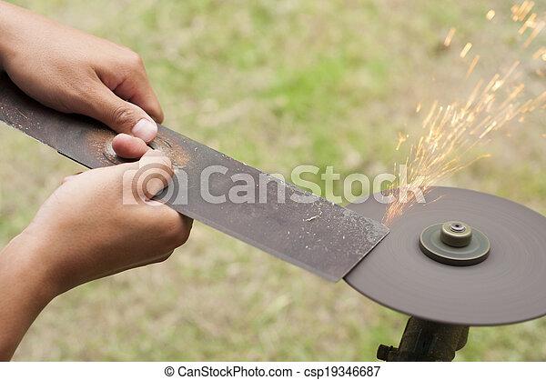 מדשאה, להב, sharpening., מכסחה - csp19346687