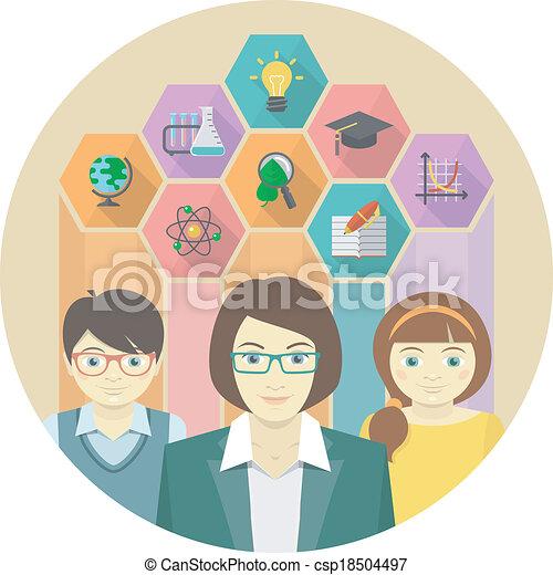 מורה, מושג, תלמידים - csp18504497
