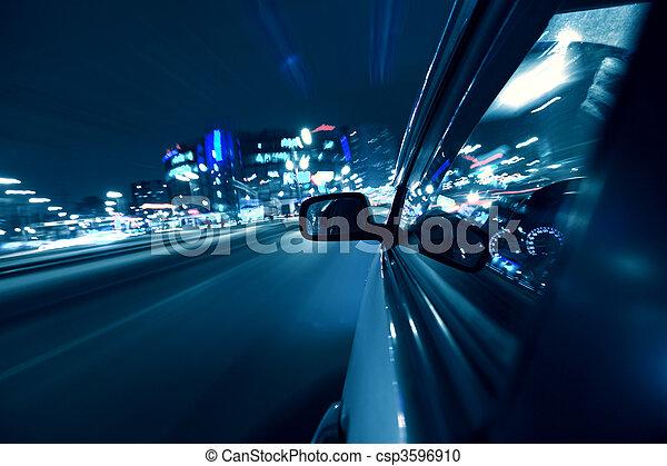 מכונית, נהג, לילה - csp3596910